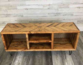 Add a colliding chevron solid color top to a record holder/entertainment center(custom top in addition to a unit.  only, read description