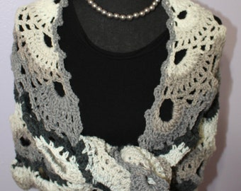 Sophisticated Scallops Crocheted Shawl Wrap Scarf Black White Grey Gray