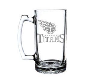 Tennessee Titans Glass Beer Mug, Etched Beer Mug, Team Logo, Any Design You Can Imagine
