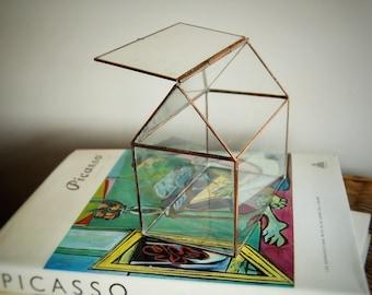 Terrarium en verre de la maison, boîte de verre de mariage, cadeau de Noël, boîte à bijoux, boîte à souvenirs en verre, décors de Noël, cadeaux pour elle, cuivre Decor