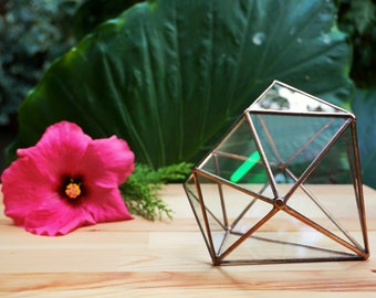 Diamond Geometric Terrarium, Handmade Planter, Stained Glass Terrarium, Indoor Gardening, Glass Container, Gifts for Her, Wedding Decoration