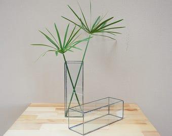 Glass Geometric Vase, Modern Vase, Christmas Table Centerpiece, Fall Wedding Decor, Christmas Gift, Thanksgiving Decor, Housewarming Gift,