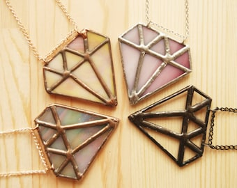 Diamond Necklace, Stained Glass Jewelry, Colorful Pendant, Contemporary Jewelry, Trendy Jewelry, Geometric Stained Glass, Gift for Her