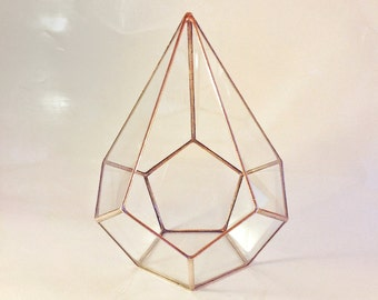 Geometric Glass Terrarium Container, Copper Planter, Gifts for Gardeners, Christmas Decor, Holiday Gifts, Christmas Gift, Gift for Her