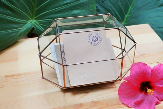 Medium Wedding Card Box Card Holder Geometric Glass Box Etsy