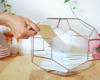 Large Geometric Glass Box, Customized Wedding Card Box, Wedding Card Holder, Envelope Holder, Large Terrarium, Wedding Centerpiece Keepsake
