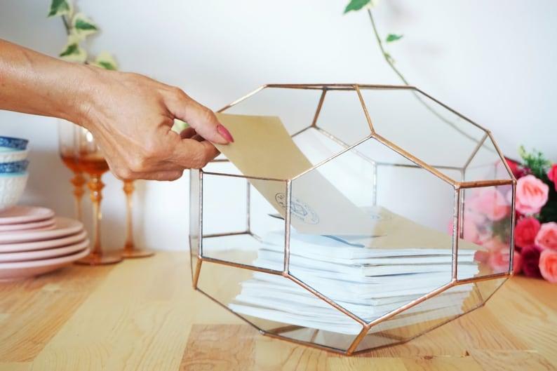 Large Geometric Glass Box Customized Wedding Card Box image 0