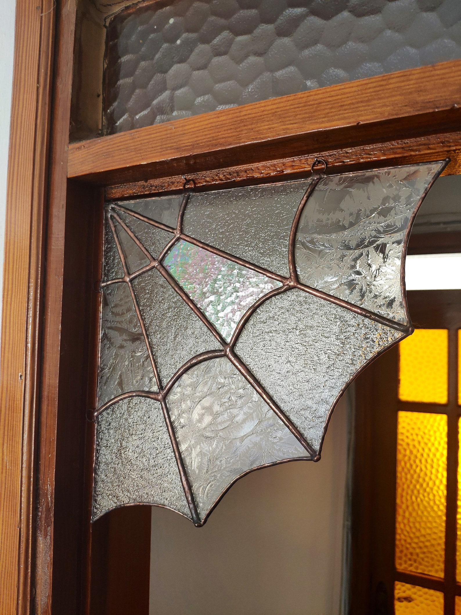 Spider Web Corner Stained Glass