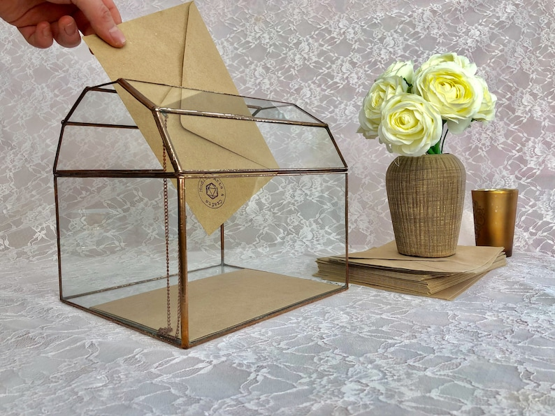 Large Glass Wedding Card Box Geometric Terrarium Customized Etsy