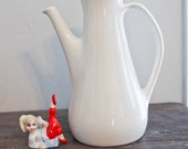 Tall Vintage Ironstone Pitcher-10.5 inches tall-Creamy White-Antique-Rustic-Farmhouse-Shabby Chic-Vase-Wedding-Shower-Party