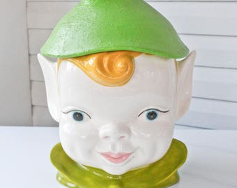 Large Vintage Pixie Elf Christmas Cookie Jar-Holland Mold