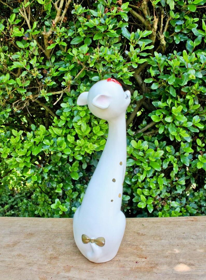 Gorgeous Vintage Long Neck 12 inch Napcoware White Deer-Doe-Red Bow-Gold Polka Dots-Eyelash-Napco-Foil Sticker-Japan-Reindeer