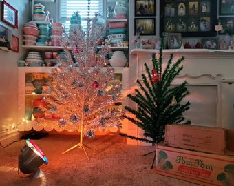Stunning Large Vintage Silver Aluminum Pom Pom Christmas Tree-Original Box-6 Foot-Full 88 Branches-Sparkler-Color Wheel Included-Mid Century