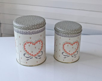 Vintage Grey-Gray- Polka Dot Nesting Canisters-Made in Taiwan-Hearts-Tin-Metal