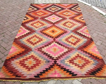 """Kilim rug, Vintage Turkish rug, 121"""" x 70"""", area rug, kelim rug, vintage rug, bohemian rug, eccentric rug,, pink kilim, diamond design, 792"""
