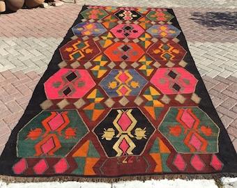 Large area rug, Vintage Colorful Kilim rug, 158'' x 70'', Turkish kilim rug, Colorful area rug, Bright colored kilim rug, pink Rugs, 719
