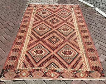 "Vintage kilim rug, Pale area rug, 98"" X 62"", kilim rug, vintage rug, rug, bohemian rug, Turkish rug, rugs, bedroom rugs, pale area rug, 708"
