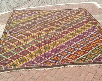 "Over sized Turkish kilim, 125"" x 107.5"", Vintage Turkish kilim rug, area rug, kilim rug, vintage rug, bohemian rug, Turkish rug, 772"