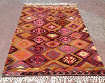 Grand tapis rouge brodé Vintage turc kilim tapis tapis | Etsy