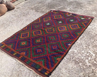 "Kilim rug, Purple and green area rug, 93"" x 63"" , Vintage Turkish kilim rug, area rug, kelim rug, vintage rug, bohemian rug, 158"