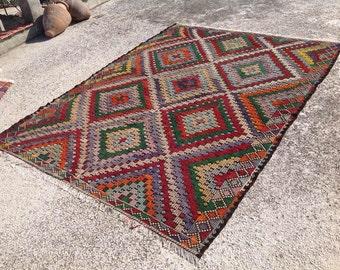 "Kilim rug, 110"" x 85"", Kilim Carpet, area rug, kelim rug, vintage rug, bohemian, Turkish rug, large rug,kelim rug, bohemian rug, rugs, 286"