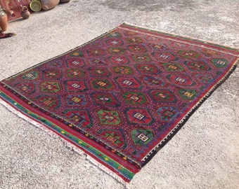 "Kilim rug, Purple and green area rug, 104"" x 82"" , Vintage Turkish kilim rug, kelim rug, vintage rug, bohemian rug, purple carpet, 120"