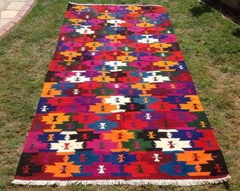 "Colorful Kilim rug, 113"" x 58"", Vintage Turkish kilim rug, kilim rug, colorful rug, vintage rug, bohemian rug, Turkish rug, rug, bright,"