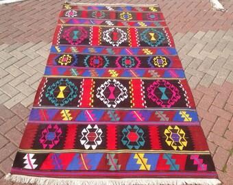Vintage Turkish kilim rug, kilim rug, colorful area rug, vintage rug, bohemian rug, Boho, rugs, colorful striped rugs, large area rug, 417