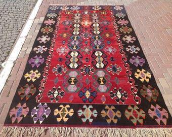"""Kilim rug, large area rug. 135"""" x 74"""" Vintage Turkish kilim rug, area rug, kilim rug, vintage rug, bohemian rug, Turkish rug, rug, rugs, 279"""