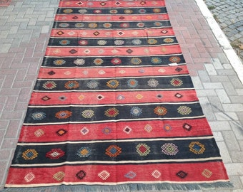Black and red kilim, Striped rug,  118'' x 62.5'' Vintage Turkish kilim rug, area rug, kilim rug, kelim rug, vintage textile, Turkish, 536