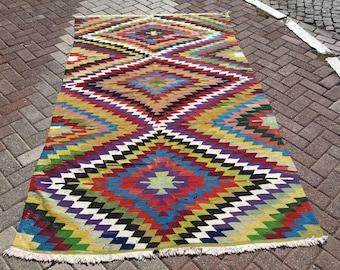 """Kilim rug, Vintage Turkish kilim rug, 98"""" x 57"""", kilim, area rug, kilim rug, organic wool kelim, vintage rug, bohemian rug, Boho, rugs,734"""