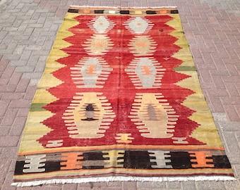 """8'8"""" x 5'3"""", Vintage Turkish kilim rug, area rug, kilim rug, kelim rug, vintage rug, bohemian rug, Turkish rug, rugs, 435"""