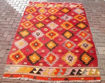 LOVELY design Kilim rug, 95'' x 64'' Vintage Turkish rug, rugs, bright colored area rug, vintage rug, bohemian rug, eccentric rug, rugs, 175