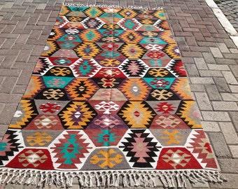 """Kilim rug, 90.5"""" x 51"""" Vintage Turkish kilim rug, area rug, kilim rug, vintage rug, bohemian rug, Pastel Turkish rug, rug, soft colored, 151"""
