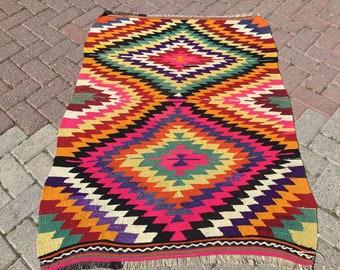 "Vintage Turkish kilim rug, 51"" x 38"", colorful area rug, kilim rug, kelim rug, bohemian rug, Turkish rug, small rug, small kilim, rug, 0020x"