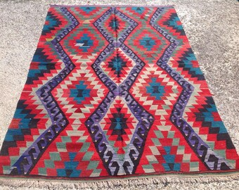 Diamond design Kilim rug, 105'' x 73'' Vintage Turkish rug, rugs, area rug, vintage rug, bohemian rug, eccentric rug, anatolian rug, rug,322