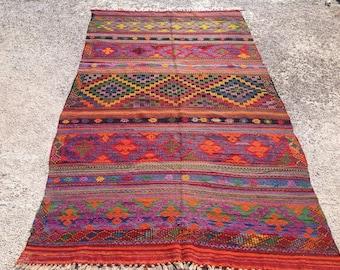 Turkish Kilim rug, 119'' x 68'',  Vintage Turkish rug, rug, colorful area rug, vintage rug, bohemian rug, eccentric rug, purple area rug,326