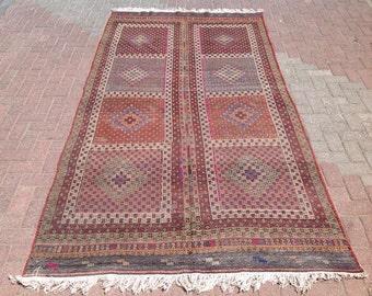 """10'5"""" x 5'3"""" Kilim rug,Embroidered Kilim rug, area rug, kilim, kelim rug, vintage rug, bohemian rug, rugs, orange, 622"""