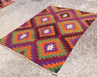 """Diamond design Kilim rug, 89'' x 66"""", Purple, orange rug, Vintage Turkish rug, colorful area rug, vintage rug, bohemian rug, eccentric, 181"""