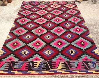 Red, pink, teal and purple Kilim rug, 126'' x 83'' Vintage Turkish rug, rugs, area rug, vintage rug, bohemian rug, eccentric rug, area, 617