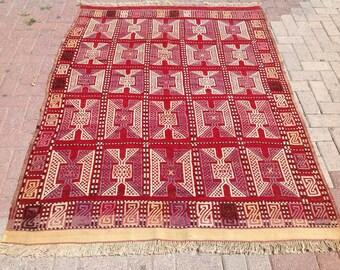 "Embroidered Kilim, Unique design, 79"" x 59"", area rug, kilim, kelim rug, vintage rug, bohemian rug, rugs, orange, soft colors, 192"