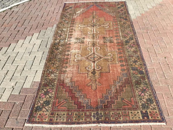 Area Rug 114 X 57 Neutral Color Rug Beige Rug Muted Color Rug Hand Knotted Rug Rug Distressed Rug Wool Area Rugs Rug 162
