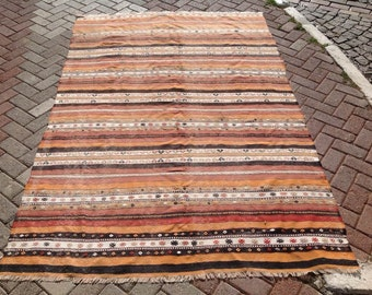 "Striped Kilim rug, 99"" x 65"" inches, Vintage Turkish kilim rug, area rug, kilim rug, kelim rug, vintage rug, bohemian rug, Turkish rug, 533"