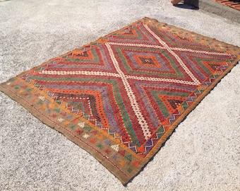 """Vintage Turkish kilim rug, 115"""" x 66"""", area rug, kilim rug, kelim rug, vintage rug, bohemian rug, Turkish rug, rug, tribal rug, rugs, 464"""