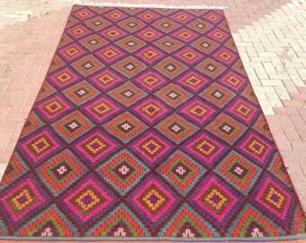 """Pink Kilim rug, 128"""" x 73"""" Turkish kilim rug, pink area rug, kilim rug, kelim rug, vintage rug, bohemian rug, Turkish rug, rugs, diamond,467"""