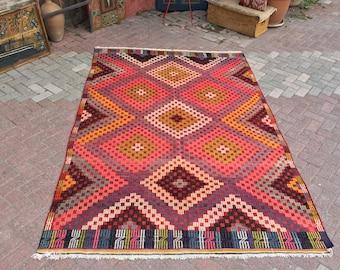 "Kilim rug, Pink Turkish kilim, 107"" x 72"", Vintage Turkish kilim rug, rustic rug, rug, pale, faded, rustic, bohemian, pale pink kilim, pink"