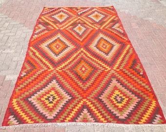"""9'8"""" X 5'9""""  Kilim rug, Vintage Turkish kilim rug, area rug, kilim rug, organic wool kelim, vintage rug, bohemian rug, Boho, rugs, 280"""