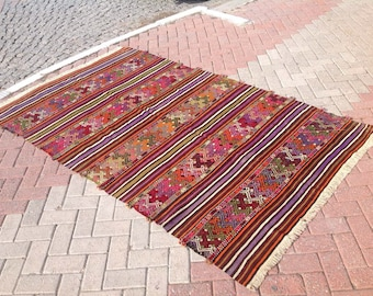 Kilim rug, Vintage Turkish kilim rug, area rug, kilim rug, kelim rug, vintage rug, bohemian rug, Turkish rug, rugs, striped rug, kelim, 227