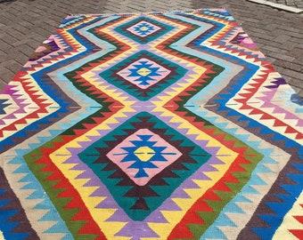 "Bright Kilim, pink kilim, blue kilim, Vintage Turkish rug, 115"" x 74"""", vintage rug, bohemian rug, eccentric rug, purple, 847"