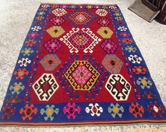 """Kilim rug, kilim, Vintage Turkish kilim rug, 115"""" x 69"""", area rug, kilim rug, kelim rug, vintage rug, bohemian rug, Turkish rug, rugs, 480"""